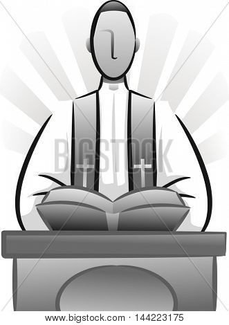 Black and White Illustration Featuring a Priest Delivering a Sermon