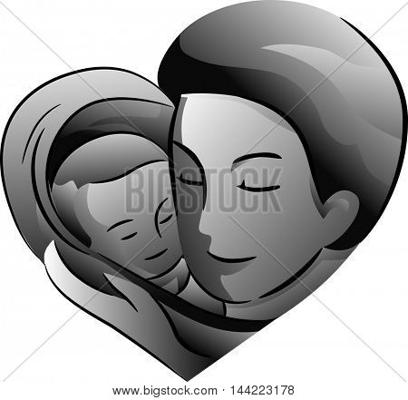 Black and White Illustration Featuring a Father Cradling His Baby