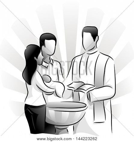 Black and White Illustration Featuring a Priest Baptizing a Child