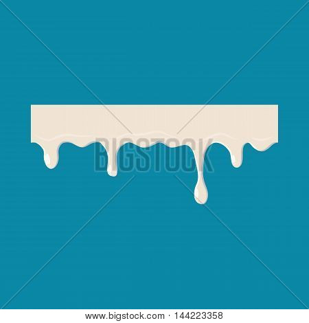 Dripping down milk icon isolated on blue background. Liquid symbol