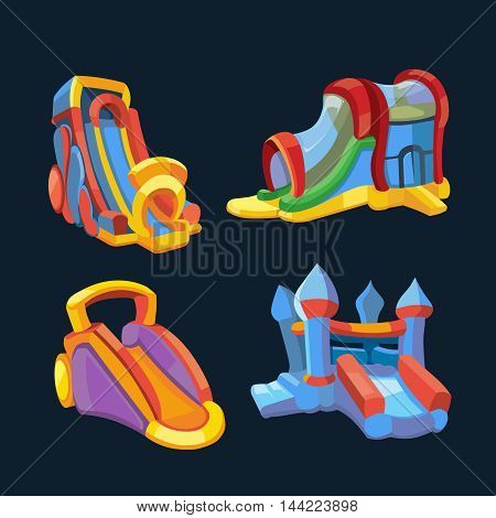 Vector illustration set of inflatable castles and children hills on playground. Pictures in modern flat style, isolate on dark background