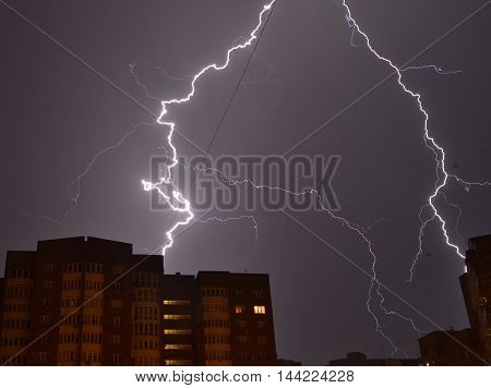 lightning, flash, rain, thunderstorm, night, sky, flash at night