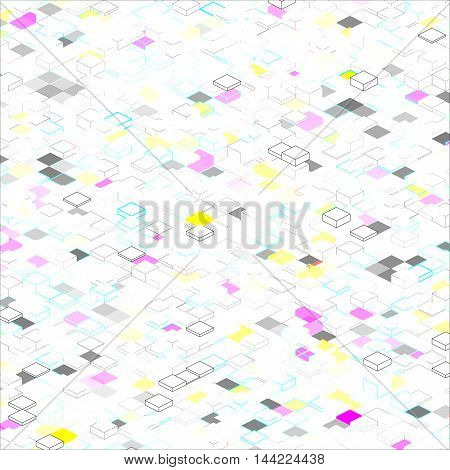 Abstract squares on a white background with colored elements and isometric figures