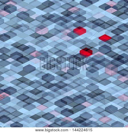 Abstract squares on a colored background with colored elements and isometric figures