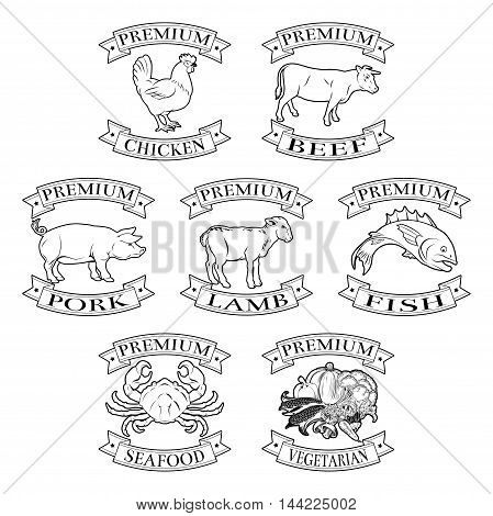 Premium Meat And Food Types Badges
