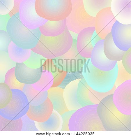 Abstract spiral with gradient shading on a colored background that overlap each other.