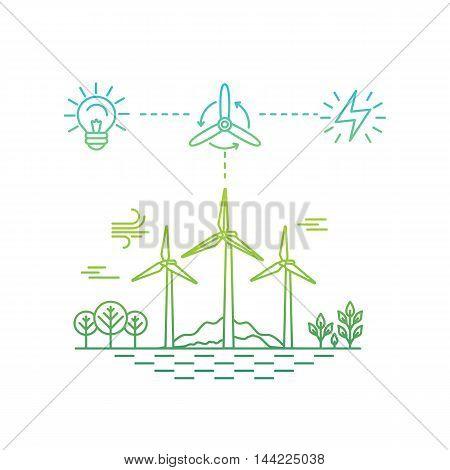 Vector Illustration In Simple Linear Flat Style - Alternative Energy