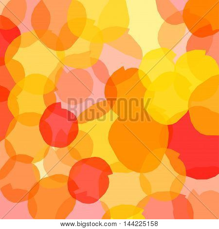 Abstract colored spots with a yellow fill and red colors on a bright background, overlap.