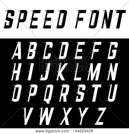Alphabet with fast speed lines. Sport font.