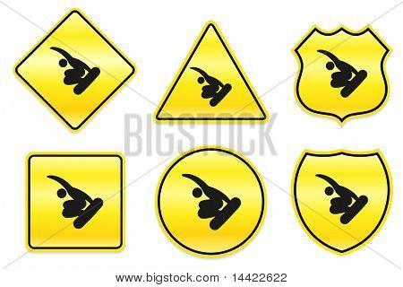 Snowboarding Icon on Yellow Designs Original Illustration