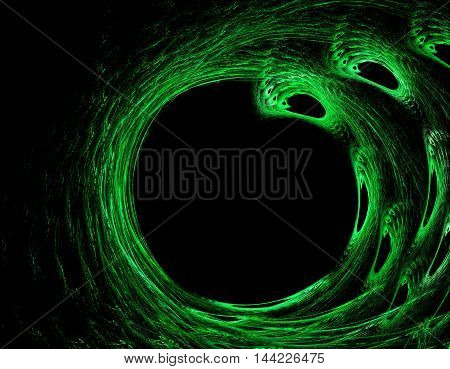 Abstract swirling green colourful cirlce on the black background