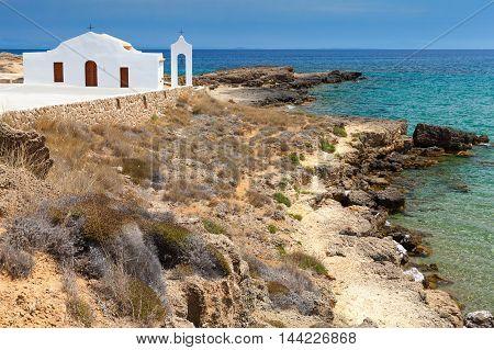 Church On The Sea. Rocky Coast Of Zakynthos