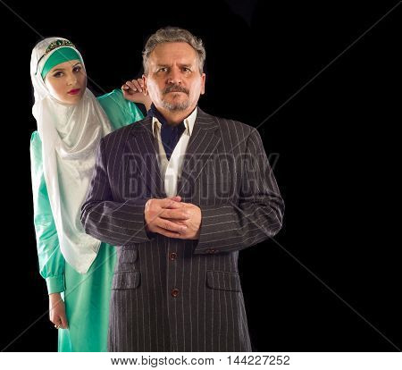 Girl In A Headscarf, A Man In A Suit
