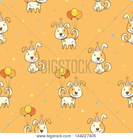 Birthday  seamless pattern with cute cartoon  dogs in party hats and balloons on orange background. Funny colorful animals. Little puppies. Vector contour image.
