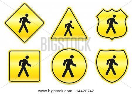Walking Icon on Yellow Designs Original Illustration