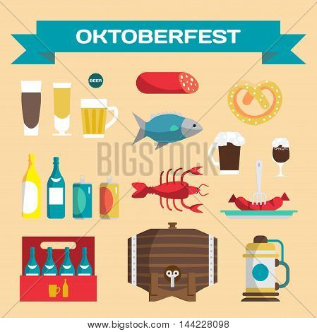 Vector set of icons in a flat cartoon style for Oktoberfest. Food drink beer mug cancer dried fish sausage