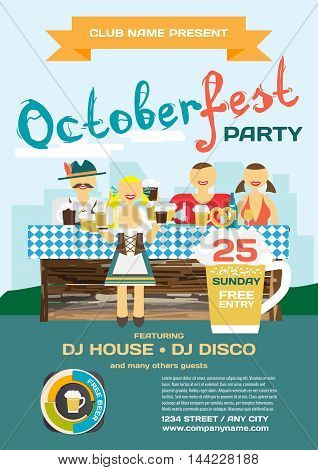 Party invitation disco style Octoberfest flyer. Man and woman drinking beer with friends in national costumes. Vector flat cartoon illustration