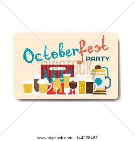 Octoberfest party flyer. Still life of beer mugs bottles barrel. Vector flat cartoon illustration