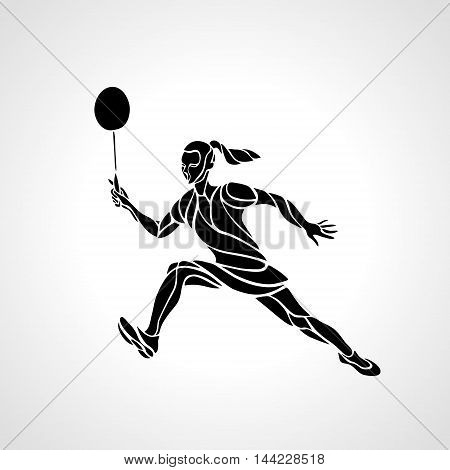 Silhouette of abstract female badminton player doing net shot. Black and white outline professional badminton player. Vector illustration