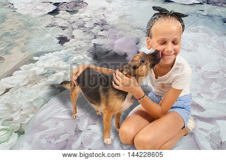Girl And Dog. Little Girl With Dog
