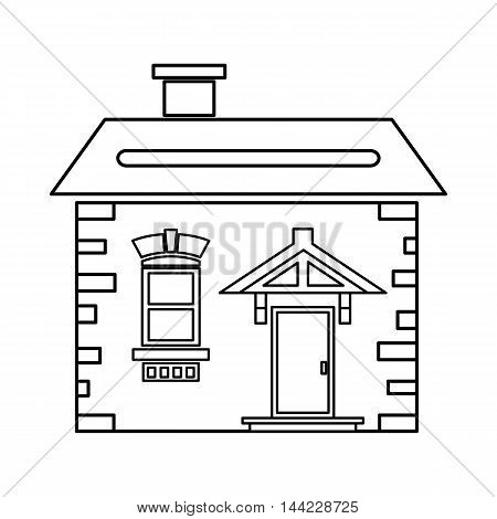 House with roof and chimney icon in outline style isolated on white background. Building symbol