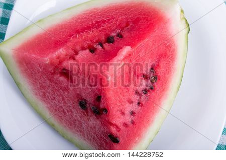 Top View On A Big Piece Of Watermelon Red