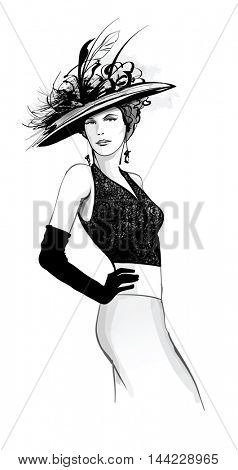Fashion model with hat - vector illustration