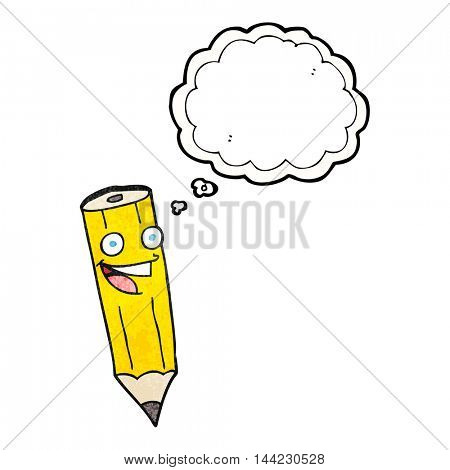 happy freehand drawn thought bubble textured cartoon pencil
