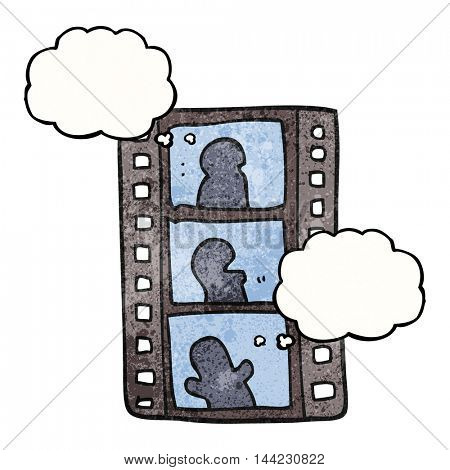 freehand drawn thought bubble textured cartoon film strip