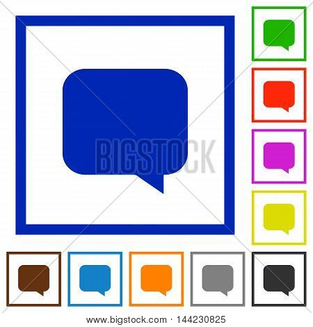 Set of color square framed message flat icons