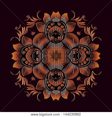 Vector gold floral round ornament for print embroidery. ethnic ornament symmetrical element. embossed pattern inlay Mahogany