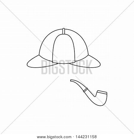 Hat and pipe icon in outline style isolated on white background. Headgear symbol