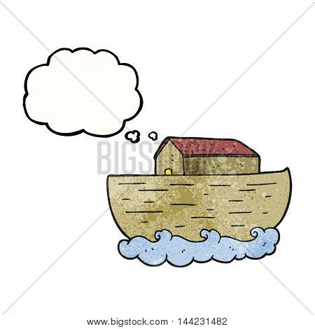 freehand drawn thought bubble textured cartoon noah's ark