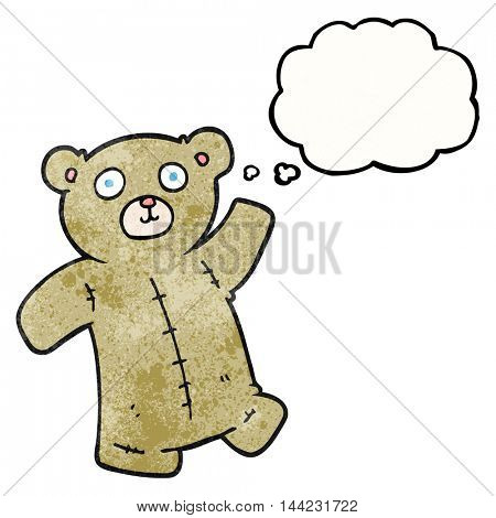 freehand drawn thought bubble textured cartoon teddy bear