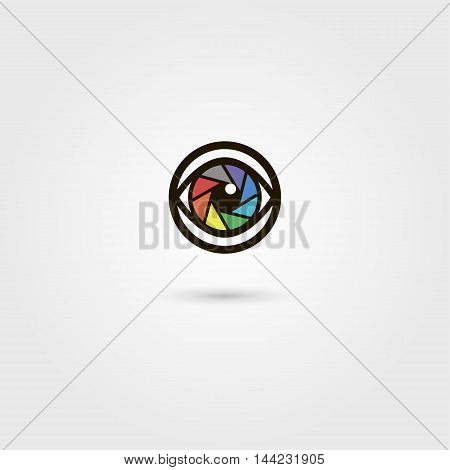 Vector shutter camera eye icon. Photography concept