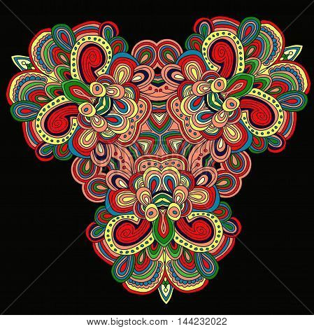 Round symmetrical pattern in green, red and brown colors. Mandala. Kaleidoscopic design.