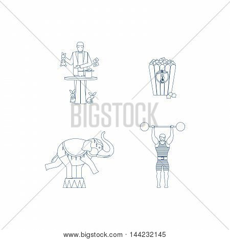 Circus vector blue line art icons with elephant and magician