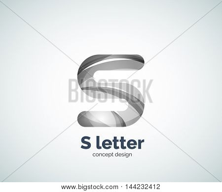 Vector S letter business logo, modern abstract geometric elegant design. Created with waves