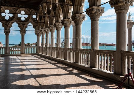 VENEZIA, ITALY - MAY 2015: Arcade - Internal View from Doge's Palace Gothic architecture in Venice Italy