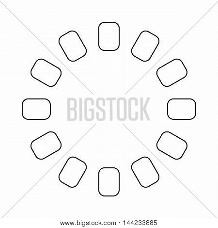 Sign download online icon in outline style isolated on white background. Loading symbol