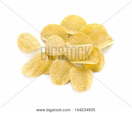 Potato chips on white background food snack