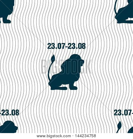 Leo Zodiac Sign. Seamless Pattern With Geometric Texture. Vector