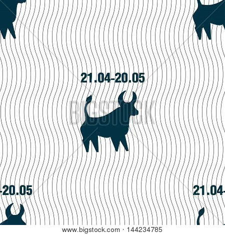 Taurus Sign. Seamless Pattern With Geometric Texture. Vector