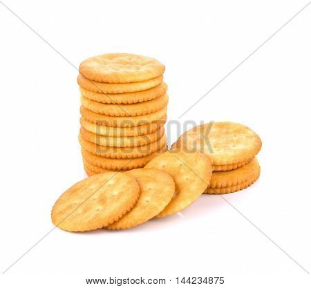 Cracker cookie on white background cookie  biscuit  snack