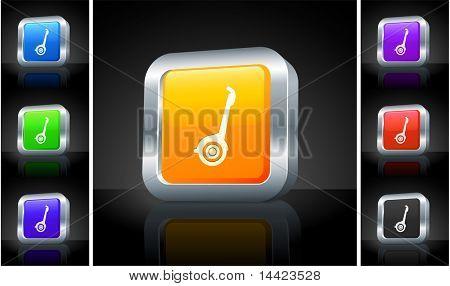 Segway Icon on 3D Button with Metallic Rim Original Illustration