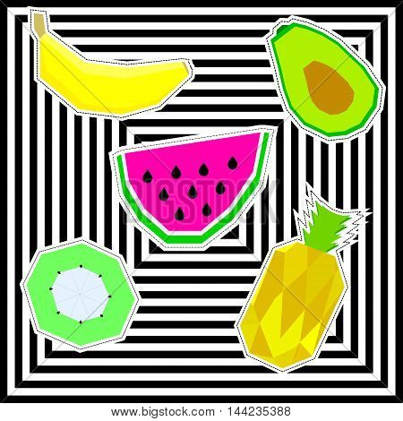 Vector set of tropical fruit patches. Fashion badge with banana, mango, kiwi, watermelon and pineapple.