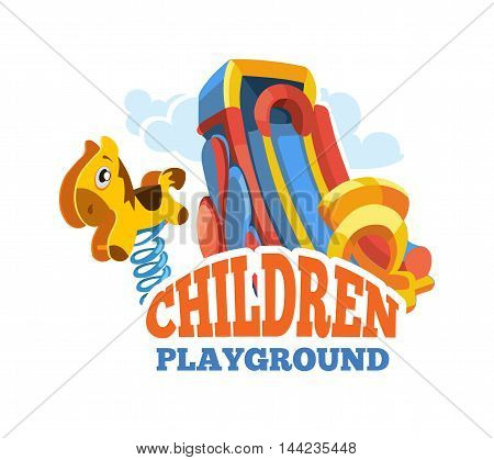 Vector illustration of color emblem with toys for summer games and children slides on playground. Advertise label with place for your text. Picture isolate on white background