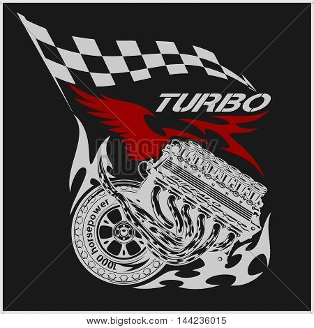 Vintage Engine Checkered Flags Racing - vector emblem