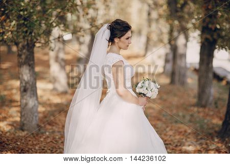 a wonderful autumn wedding beautiful happy couple