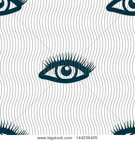 Eyelashes Sign. Seamless Pattern With Geometric Texture. Vector